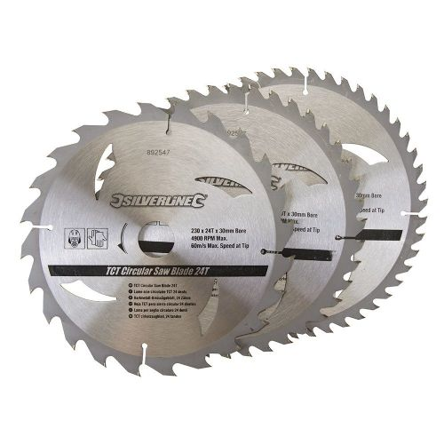 3 Pack Silverline 892547 TCT Circular Saw Blades 24, 40, 48 Teeth 230mm x 30mm